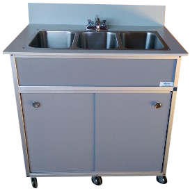 Three Bowl Hand Washing Self Contained Sink : NS-003