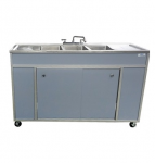 NSF Certified Three Basins Utensil Washing Self Contained Sink With Two Drainboards  Model: NS-003DB