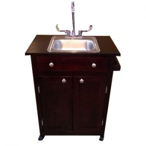 Single Basin Portable Sink – Wood Cabinet PSW – 009S