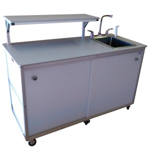 Food Service Cart with serving shelp and Portable Self Contained Sink : FSC-002